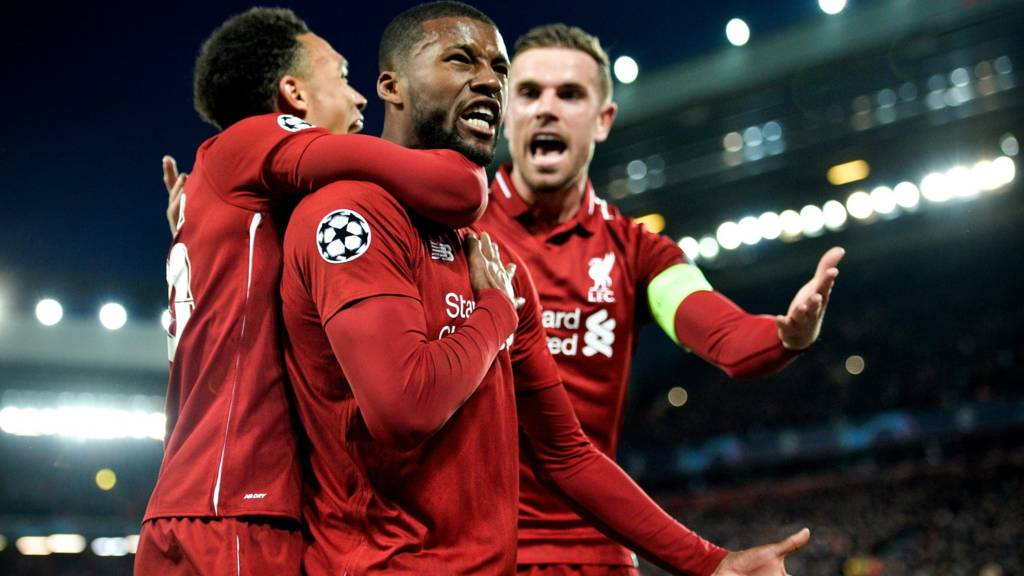 Gigi Wijnaldum celebrates after scoring against Barcelona. Liverpool won 4 - 3 on aggregate - Sportsleo.com
