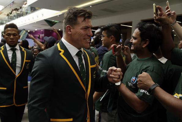 Springboks' Schalk Brits, interests supporters after the naming of 31-man squad in Johannesburg, South Africa, Monday, Aug. 26, 2019. Flanker Siya Kolisi will captain South Africa's Rugby World Cup squad after recovering from an injury that saw him miss the Springboks' victorious Rugby Championship campaign. Kolisi was named in the 31-man squad on Monday as coach Rassie Erasmus sprang no major surprises for the World Cup in Japan starting next month. The Springboks have the toughest possible start to their World Cup campaign when they face two-time defending champion New Zealand in their first game on Sept. 21. (AP Photo/Themba Hadebe) - Sports Leo