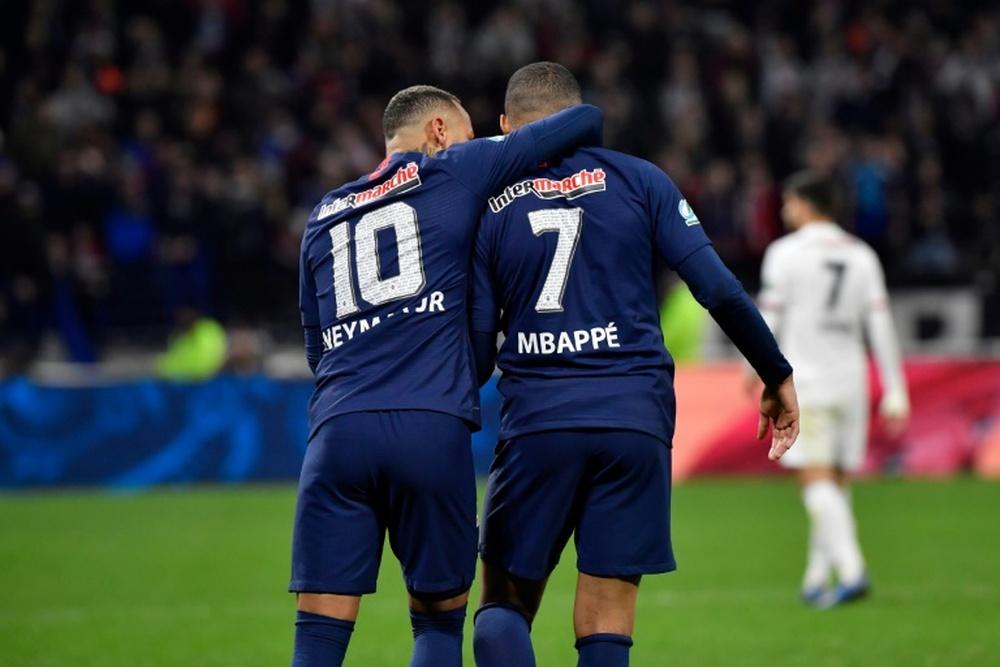 Neymar with Mbappe