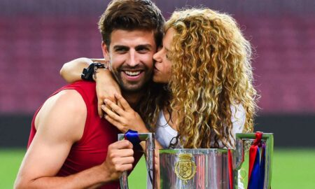 Gerard Pique with his fiancee Shakira